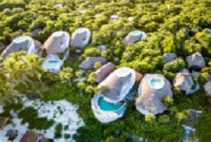 Habitación Maya Cabaña Frente Al Mar 2 Camas Matrimoniales del Hotel Hotel Papaya Playa