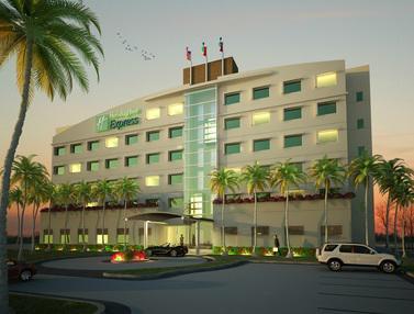Vista de noche del hotel Holiday Inn Express Manzanillo