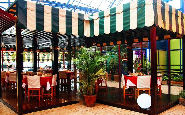 Puedes disfrutar de tus alimentos en su pequeña terraza