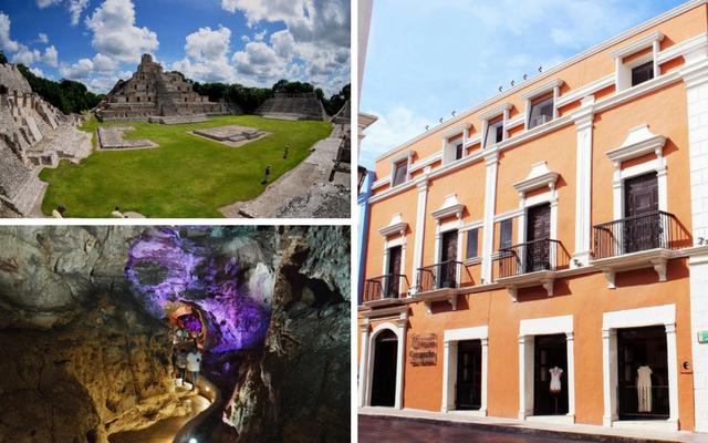 Tour a Edzná y Grutas de Xtacumbilxunaan + Hotel Misión Campeche América Centro Histórico